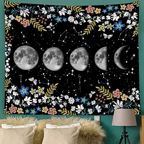 Bonsai Tree Moon Tapestry, Psychedelic Moon Phases Star Small Wall Tapestries for Womens, Constellation Space Florals Black and White Wall Hanging Art for Living Room Bedroom Home Decor, 51x59 Inches