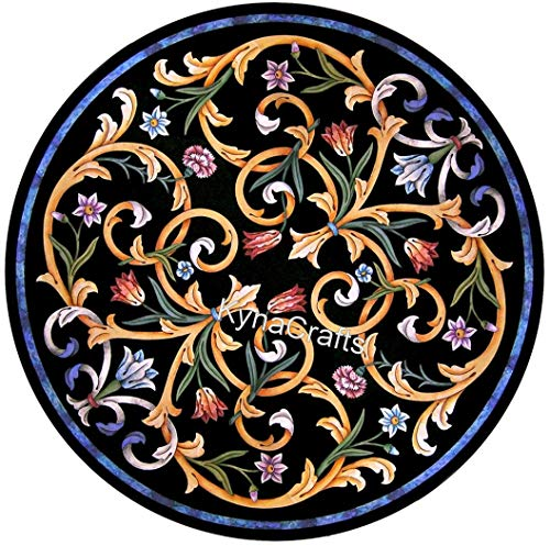 30 x 30 Inches Round Shape Black Marble Inlay Table Top Pietra Dura Art Coffee Table Top with Elegant Pattern