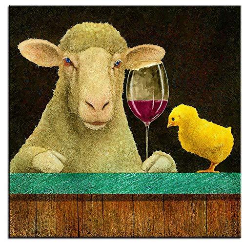 kldfig groot canvas schilderij schapen op wijn muurschilderij muurkunst decoratie schilderij voor woonkamer en wooncultuur - 50x50cm niet ingelijst