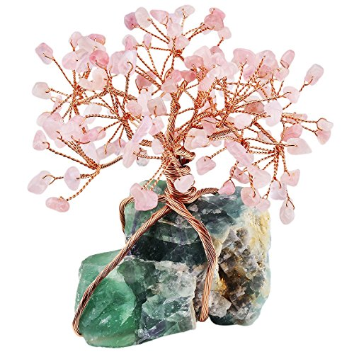 rockcloud Rose Quartz Crystal Feng Shui Money Tree with Fluorite Cluster Base Decoration for Wealth and Luck