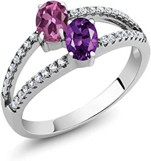 Gem Stone King 1.26 Ct Oval Pink Tourmaline Purple Amethyst 2 Stone 925 Sterling Silver Ring