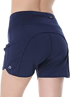 """FEDTOSING Women 4"""" Running Shorts Quick Dry Althetic Workout Shorts with Zipper Pockets"""