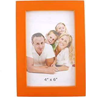 Zhenzan Frames Rectangular Wood Desktop Family Picture Photo Frame with Glass Front (Orange, 4x6)
