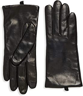 Saks Off Fifth Avenue Women`s Leather Gloves, Cashmere-Lined 100% Sheepskin Leather Black ~ Size 8 ~