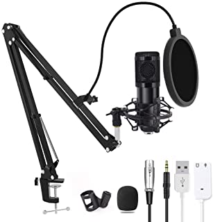 Computer Microphone, Gaming Mic with Adjustable Boom Arm Stand, USB PC Microphone for Video Recording Studio Streaming Ext...