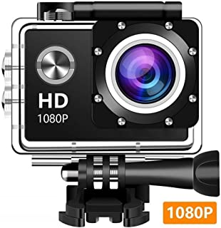 Amuoc 12MP 1080P 2 Inch LCD Screen, Waterproof Sports Cam 140 Degree Wide Angle Lens, 30m Sport Camera DV Camcorder with 10 Accessories
