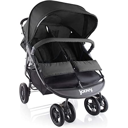 Joovy Scooter X2 Double Stroller, Side by Side Stroller, Stroller for Twins, Large Storage Basket, Black , 30 Inch (Pack of 1)