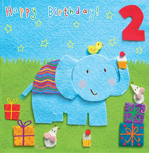 Twizler Geburtstagskarte zum 2. Geburtstag für Kinder mit Elefant und Geschenken – für 2-Jährige – Happy Birthday Karte