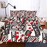 MOUMOUHOME Girls Bedding Sets Queen Size 3D Betty Boop in Red Dress Beauty Lady Printed Black/White Duvet Cover Set for Kids/Teens/Adults 3 Pieces with Zipper