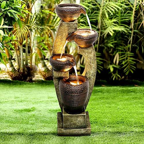 "Naturefalls 40"" H Modern Outdoor Fountain - 4 Crocks Outdoor Garden Fountains with Contemporary Design&LED Light for Garden, Patio, Deck, Porch, Backyard and Home Art Decor (Brown and Gray, 40inches)"