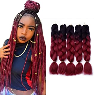 24'' 5Pcs / 500g Two Tone Ombre Kanekalon Jumbo Braiding Hair Synthetic Braid Hair Extensions For Full Head (24 inch, 1B / Wine Red)