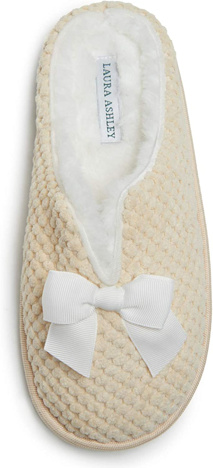 Laura Ashley Women's House Slippers, Ladies' Clog Slides with Plush Fleece Insole, Fluffy Slippers for Indoor, Home Bedroom or Spa