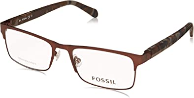 نظارة طبية معدن بذراع منقوش وعدسات شكل مستطيل بشعار مختلف اللون للرجال من فوسيل - متعددة الالون