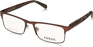 FOSSIL Metal Contrast Logo Patterned Temple Rectangular Lens Medical Glasses for Men - Multi Color