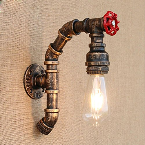 NIHE Modern Vintage Loft Industrial Metal Water Pipe Lamp Lampe murale rétro Lampe murale en fer style Country Sconce E27 Lampes, 002