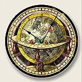 AZHOULIULIU Co.,ltd Reloj de ParedGlobe Map Reloj de Paredimpresión VintageAspecto Antiguo del Viejo Mundo