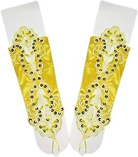 MoreChioce Donna 1 Paio di Elegante Pizzo Guanti Lunghi in Raso,Matrimonio Accessori per Matrimonio,Travestimenti,Carneval...