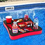 Polar Whale Floating Drink Holder Red and Black Refreshment Table Tray for Pool or Beach Party Float Lounge Durable Black Foam 17.5 Inches Large 10 Compartment UV Resistant