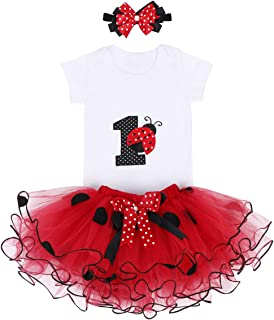 Baby Girl First Birthday Clothes 1st Crown Romper+Ruffle Tulle Skirt+Bow Headband 3PCS Party Dress Set Smash Cake Outfit