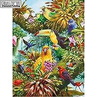 ダイヤモンドアート ダイヤモンド5D DIYダイヤモンド絵画刺繍クロスステッチ美しい鳥ラインストーンモザイク絵画装飾ギフト MDYJP (Color : 1, Size : Square Drill 60x40cm)