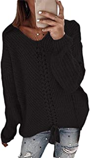 Womens Long-Sleeve V Neck Pullover Casual Knitted Lace Up Sweaters