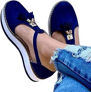 Acreny - Sandalias de piel con flecos para mujer, suela antideslizante, azul, 35