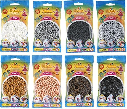 Hama Happy Price Toys Midi Kon-19 Perles à repasser convulutes 8 couleurs (blanc, marron, noir, marron clair, gris, gris clair, beige, gris foncé) avec 1 plaque HPT Octopus ou grenouille