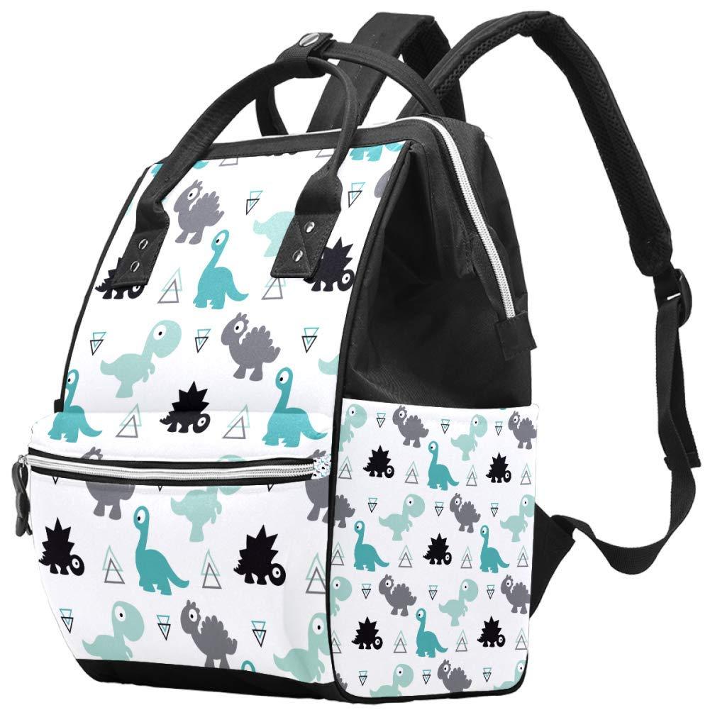 Green Dinosaur Diaper Bag Backpack - Waterproof Travel Nappy Bag Multifunction Baby Bag