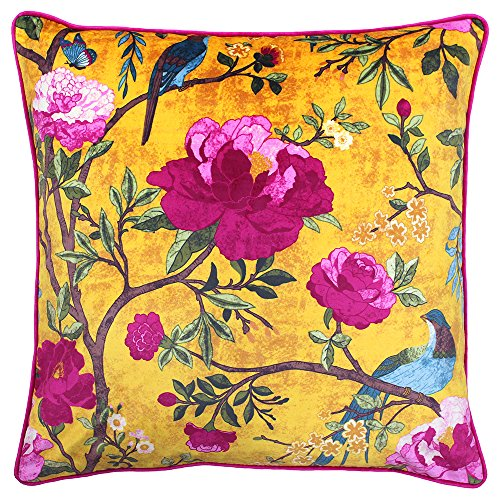 Riva Paoletti Chinoiserie Cushion Cover - Gold Yellow - Chinoiserie Flower Bird Print - Piped Edges - Machine Washable - 100% Polyester - 50 x 50cm (20' x 20' inches) - Designed in the UK