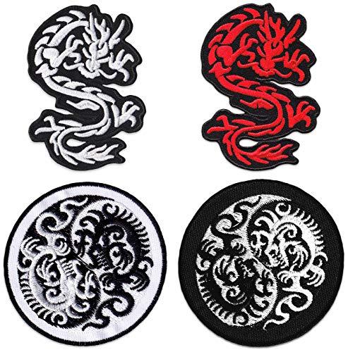 Drachen Yin und Yang 4er Set Bestickte Aufnäher Aufbügler Patches Kampfsport Mixed Martial Arts Muay Thai Bügelbild Patch