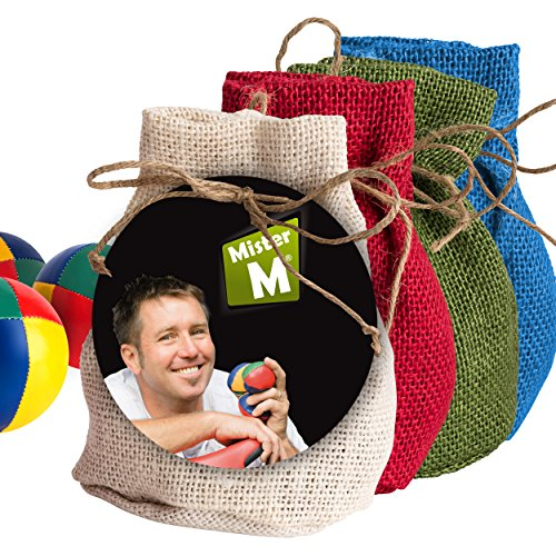"""Mister M Juggling Balls ✓ CE Tested ✓ """"The Ultimate Juggling Set"""" with an Online Video in a Burlap Bag"""