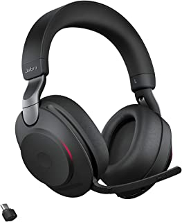 Jabra Evolve2 85 Wireless Headset – Noise Cancelling UC Certified Stereo Headphones with Long-Lasting Battery – USB-C Bluetooth Adapter – Black