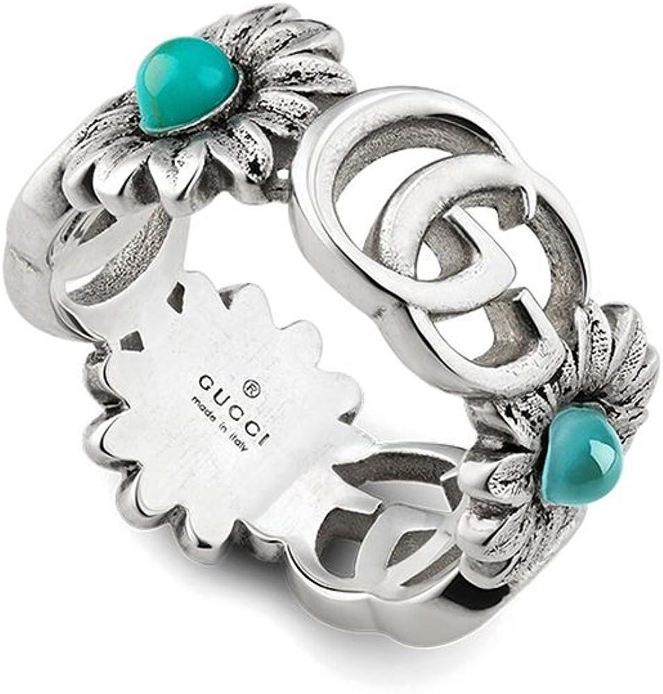 Gucci ,anello con doppio g e dettagli floreali in argento sterling, madreperla, topazio e resina turchese YBC527394001014