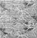 wxf Papel De Pared De Ladrillo Tridimensional 3D Etiqueta Engomada De La Pared De La Espuma De PE De 4.5 Mm Auto-Adhesivo Anti-colisión Adecuado para Sala De Estar, Dormitorio, of(Color:Negro marmol)