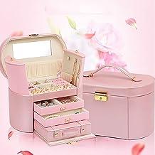 MU Boîte à Bijoux en Bois Massif de ménage boîte de Rangement Portable/Multicouche Coiffe Bijoux Finition boîte/Maquillage...