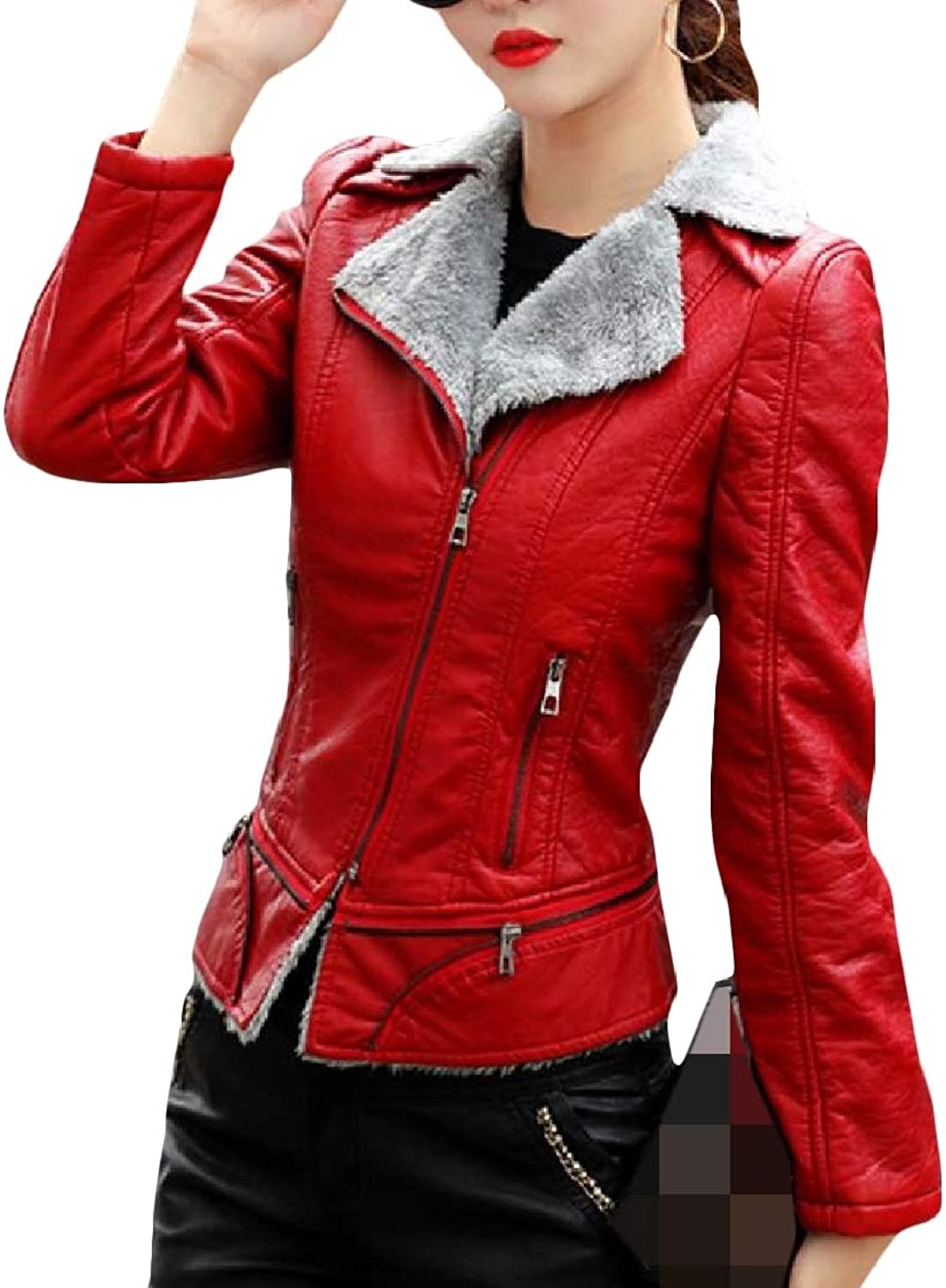 SweatwaterCA Women's Trendy FauxLeather Fleece Lined Lapel Zipper Coat Jacket