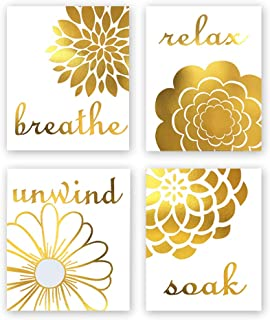 Abstract Flowers Gold Foil Print, Breathe, Relax, Unwind, Soak Quote Inspirational Saying Cardstock Art Print Motivational Sign Poster Home Wall Art (8 X 10 inch, Set of 4, UNframed)