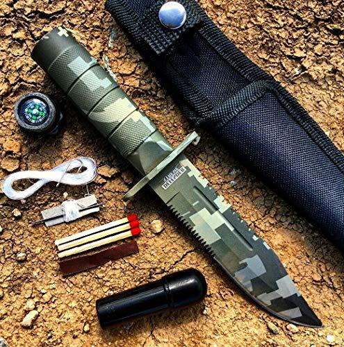 8.5  Defender Xtreme Digital Gray Camo Survival Hunting Knife Ultra Sharp Fixed Blade Knife with Sheath Camping Survival Pocket Knives