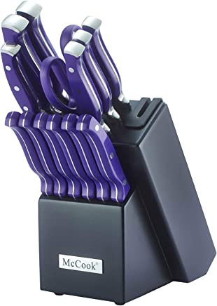 McCook MC27 14 Pieces FDA Certified High Carbon Stainless Steel Kitchen Knife Set with Wooden Block, All-Purpose Kitchen Scissors and Built-in Sharpener(Violet)