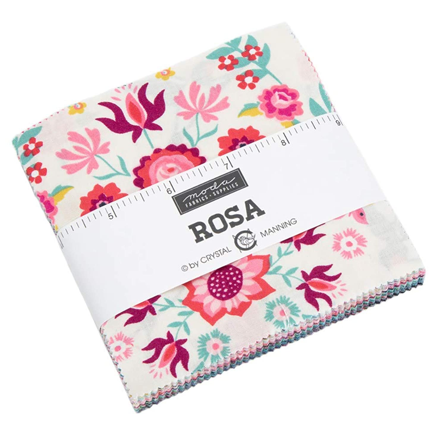 Rosa Charm Pack by Crystal Manning; 42-5 Inch Precut Fabric Quilt Squares