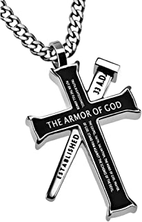 Ephesians 6:10-18 Bible Verse Jewelry, Black Cross and Nail Necklace, Stainless Steel Chain