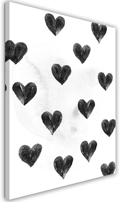 producto de calidad Feeby. Cuadro en Lienzo - - - 1 Parte - 50x70 cm, Imagen impresión Pintura decoración Cuadros de una Pieza, I Drew a Few Hearts for You - Robert Farkas, ILUSTRACIóN, CORAZóN, blancoo Y Negro  compra en línea hoy