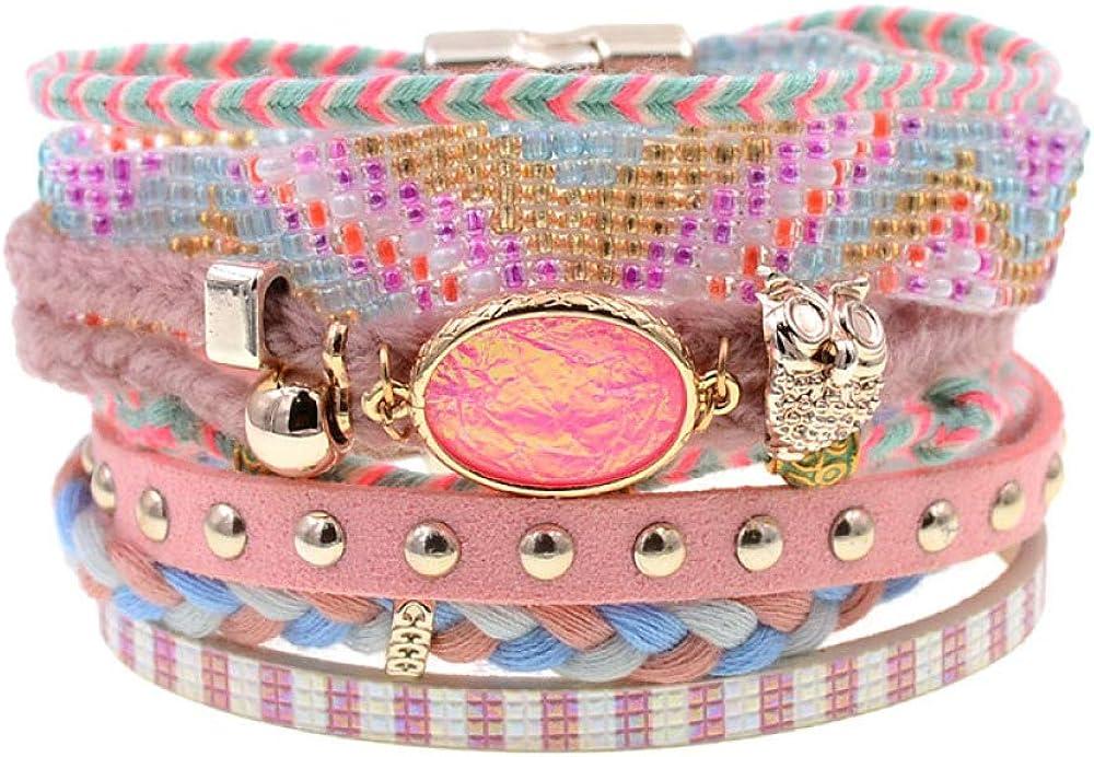 Women Regular dealer Bracelets Leather Bohemia Beads Long-awaited Charm Beaded Bra