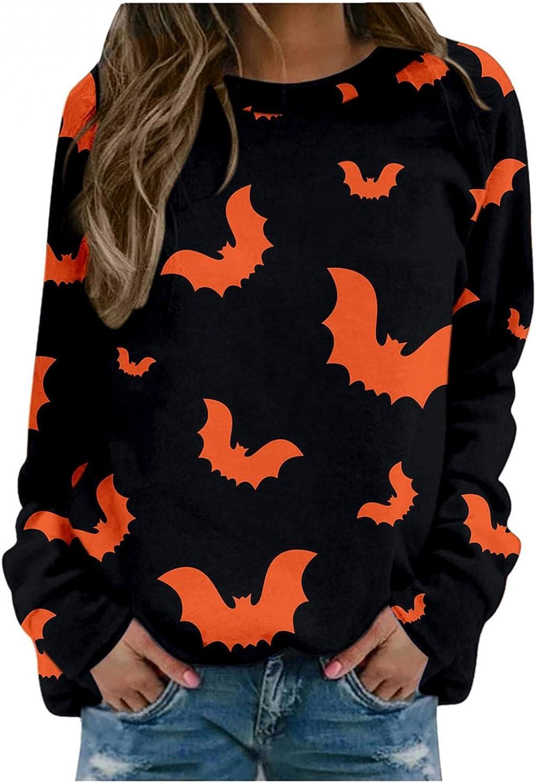 Haheyrte Crewneck Sweatshirts Womens Halloween Cats Bats Print O Neck Pullover Tops Casual Long Sleeve T-Shirts Sweaters