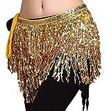 YiJee Femme Danse du Ventre Accessoires Sequins Glands Belly Dance Chaîne de Taille Or