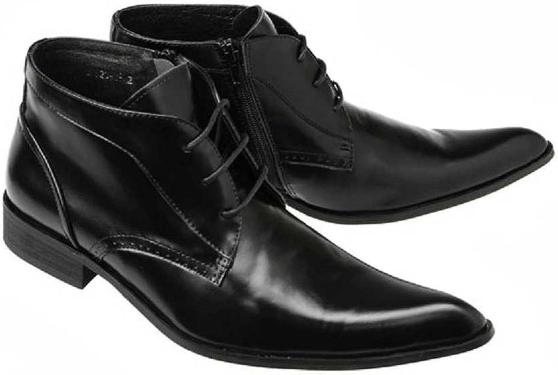 Lock Plus Comfort svart Leather Leather Leather Side Zipper Lace Up Formal Dress Ankle Boots Mens skor  underbar