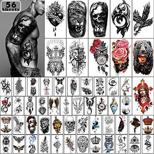Yazhiji 56 fogli adesivi tatuaggi temporanei 11 fogli tatuaggi spalla mezza braccio per uomini o donne con 45 fogli piccolo tatuaggio finto