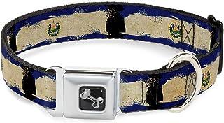 Buckle Down El Salvador Flag 做旧绘画狗项圈,宽 小号/13-18