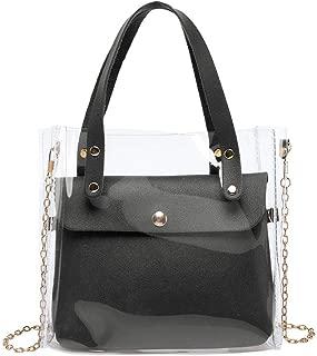chinatera Clear Purse Shoulder Bag for Women, 2pcs/Set Cross Body Bag Women's Satchel Transparent Messenger Shoulder Handbag
