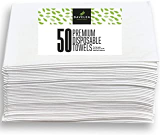"DAVELEN Disposable Large Luxury Towels (50-Count) Spa and Salon Quality Softness for Guests, Clients | Hair, Face, Body Use | Luxurious Comfort, Hygienic, Ecofriendly | Towels Size: 31.5"" x 15 (white)"